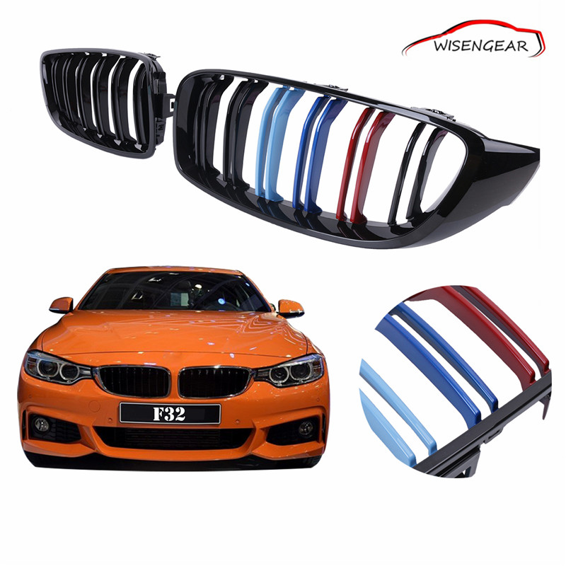 Gloss Black M-color Front Kidney Grilles Double line Grill M4 For BMW F32 F33 F36 4-Series 2014 2015 2016 Car styling C/5 4 series f32 f33 f36 front bumper grill gloss black abs car styling grille for bmw f80 m3 f82 f83 m4 replacement car part