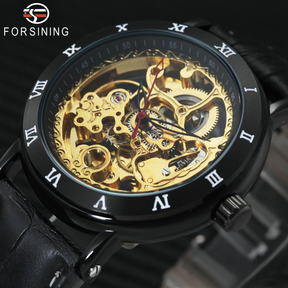 FORSINING New Black Men Watch Imported Automatic Movement Roman Numerals Golden Skeleton Dial Leather Men Mechanical Wrist Watch roman numerals dial artificial leather watch
