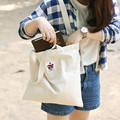 Handmade Cotton Canvas Eco Shoulder Bag Shopping Tote Leopard Sticker Tai61317