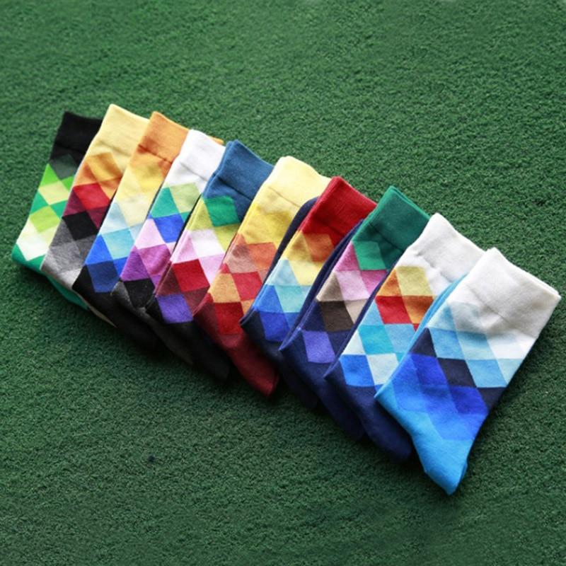 LNRRABC 2018 Trendy 10 Colors 1 Pair Men Fashion Elegant Cotton British Style Plaid Gradient Color Business Casual Crew   Socks