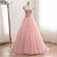 Sapphire Bridal Lace Applique Formal Party Gown Vestidos De 15 Anos Cut out Back Sexy Quinceanera Dress Performance Host Dress