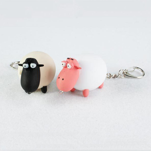 2016 New product cartoon cute pink black sheep font b LED b font luminous key chain
