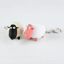 2016 New product cartoon cute pink black sheep LED luminous key chain creative hangbag pendant Flashlight small gift wholesale