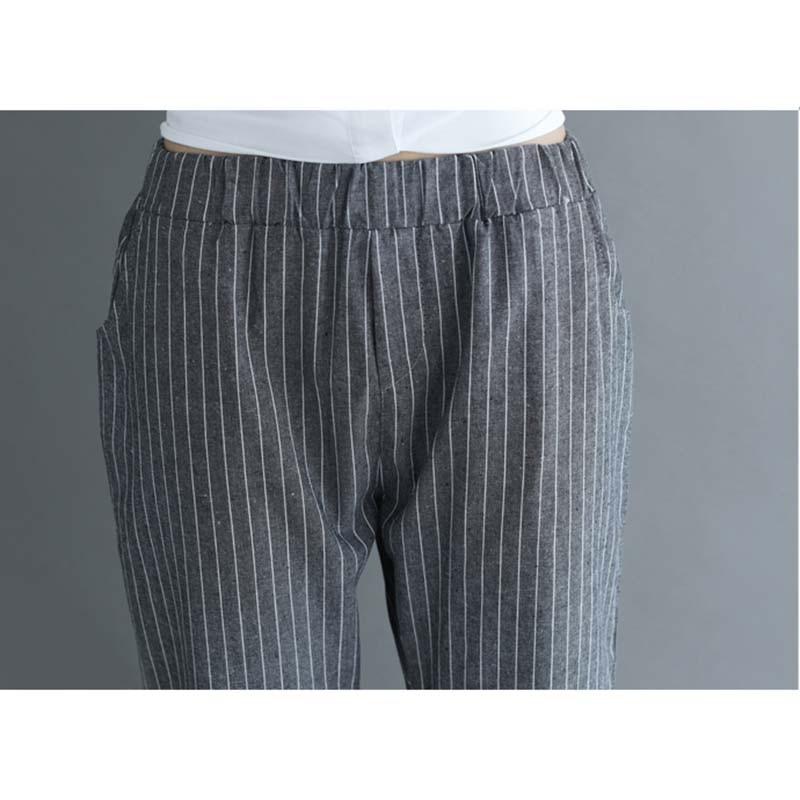 New Thin Cotton Linen Harem Pants Women Summer Autumn Plus Size Striped Pant Female Elastic Waist Ankle-Length Leggings 4XL M289 4