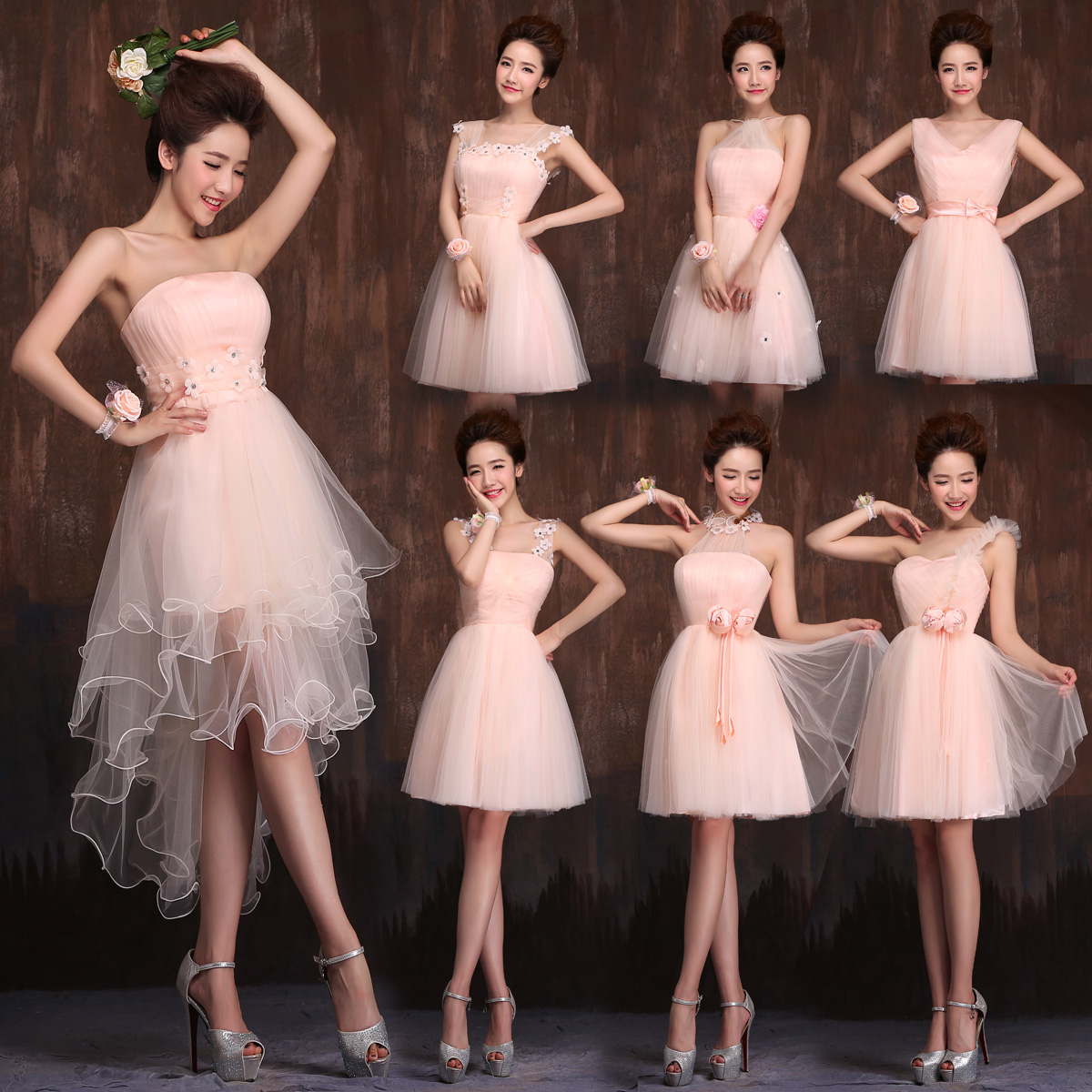 Mg012 High Low Pink Bridesmaid Dress Spring Summer Autumn Strapless Club Dresses In From Weddings Events On