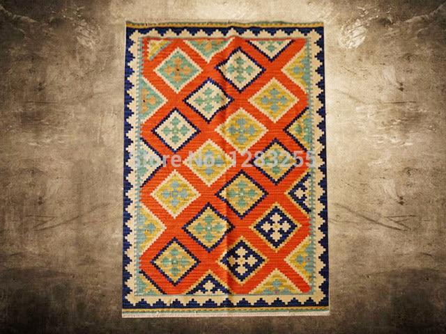Boden RugScandinavian Weinlese Handwoven Teppiche Luxus Kelim Teppich Wohnzimmer Wolle