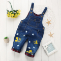 autumn winter fashion casual boy overalls baby girl Floral Bow Minnie Mouse pattern jeans washed blue denim coveralls pants Bib