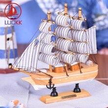 LUCKK 20CM Wooden Model Ship Nautical Home Interior Decoration Wood Crafts Nordic Sea Style Boat Room Desk Model Ornaments Decor la salamandre 1752 model ship wood