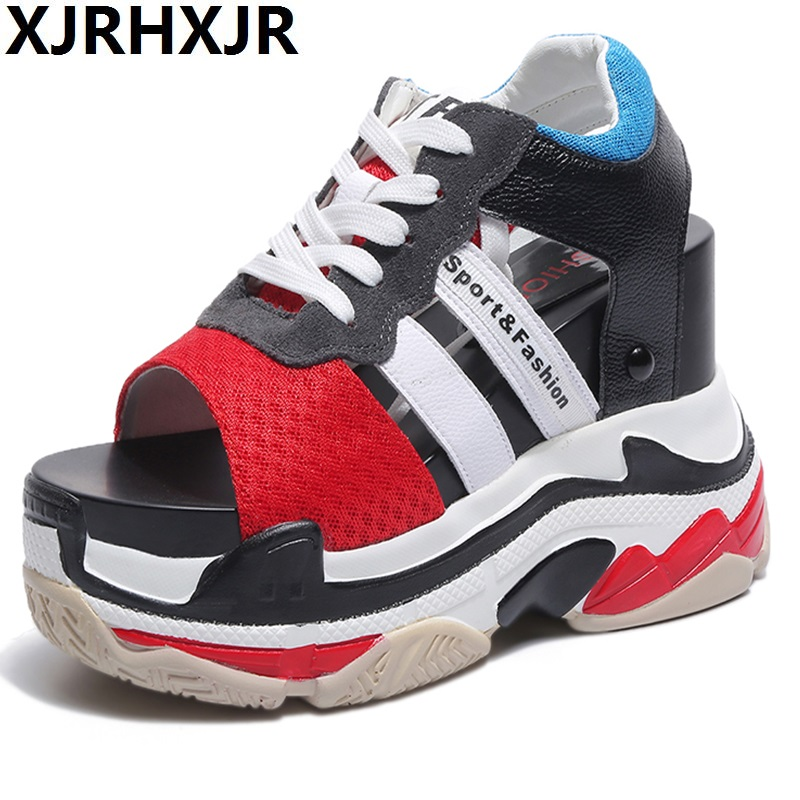 цена на XJRHXJR 11cm Women Sandals 2018 Summer New Fashion Platform Sandals Wedges Thick Bottom Casual Women Shoes Comfortable Sandals