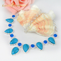 Newest  Holiday Gift Drop Blue Turquoise Blue Created Topaz Crystal Russia Brazil Wedding Necklace