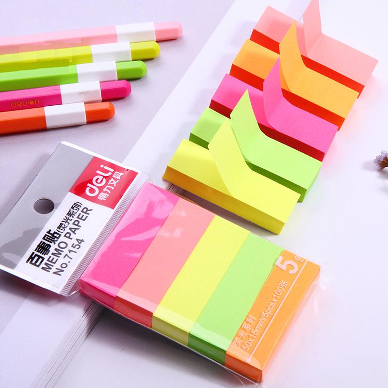 1 Pack 5 Colors Colored Memo Pads Stickers Self-Adhesive Sticky Notes Post It Stationery Supplies Deli 7154