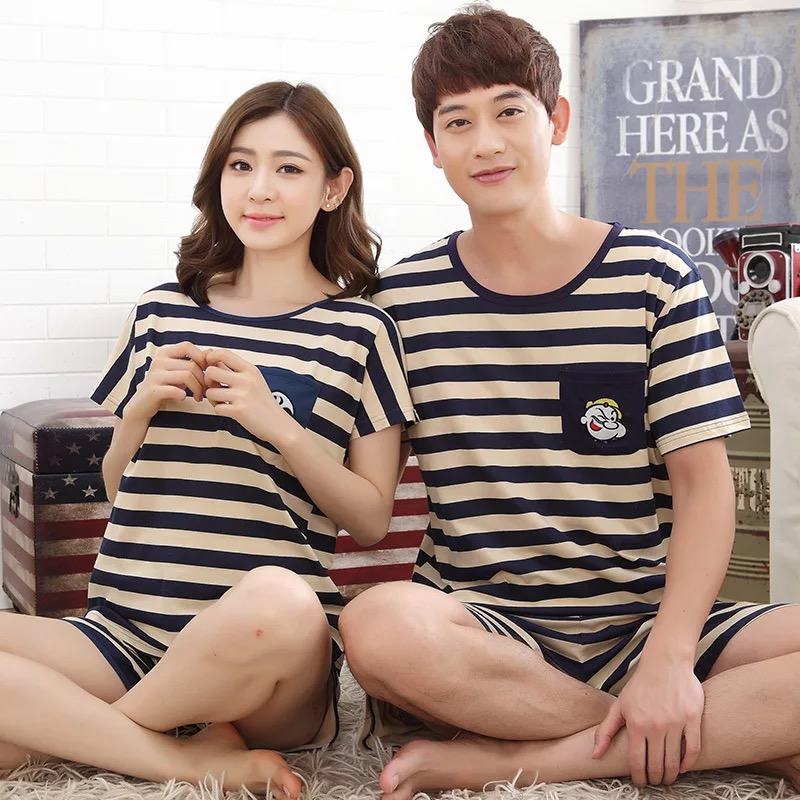 Couple Pajamas Cotton Summer Men Women Sleep T-shirt Short Pijamas Sleepwear  stripe Home Cute f4ef6d293