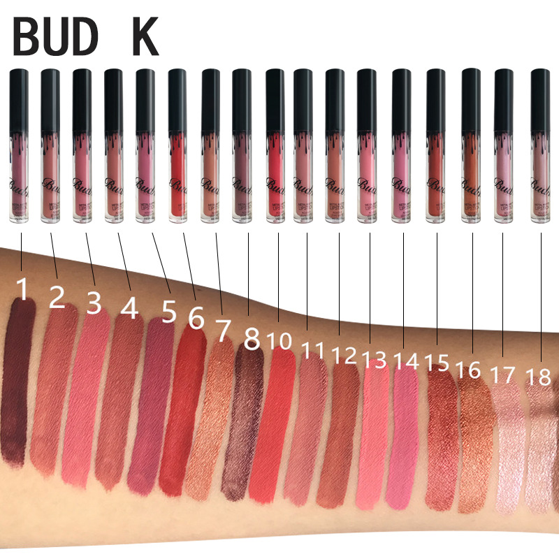 BUDK 18 Colors Matte Liquid Lipstick Tint Lips Cosmetics Waterproof Lip Gloss Kilie Lipstick Nude Makeup LipGloss Maquiage