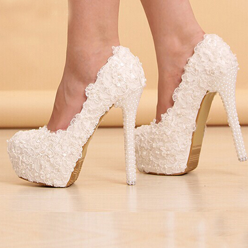 Newest White Beautiful Vogue Lace Flowers Pearl High Heels Wedding Bridal Shoes Comfortable Bridesmaid In Womens Pumps From On Aliexpress