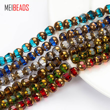 MEIBEADS Crystal Glass Round Shape Spacer Colorful Crystal Glass Beads Accessories Fit Bracelet DIY Jewelry Making EY5185(China)