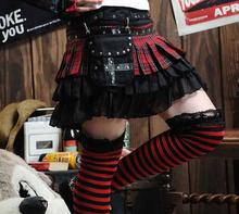 Japanese Harajuku Style Gothic Punk Lolita Black and Red Tartan Plaid Rivet Mini Tiered Skirt/Waist Bag Included