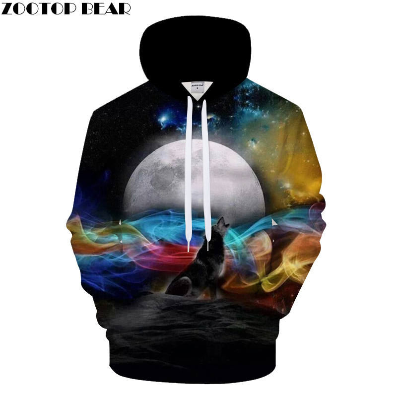 Moon Rise 3D Hoodies Men Clothing Streetwear Sweatshirts Wolf Hoody Anime Tracksuits Harajuku Pullover Hot Drop Ship ZOOTOP BEAR