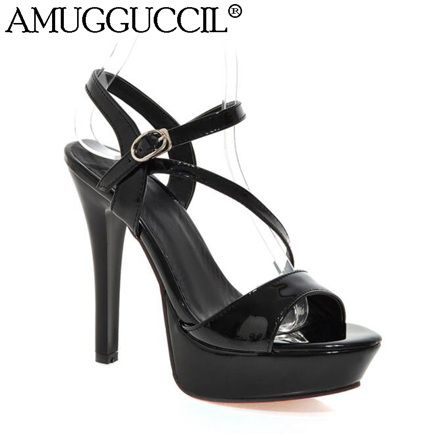 2018 New Plus Big Size 32-42 Black White Gold Silver Red Buckle Fashion Sexy High Heel Platform Summer Lady Women Sandals L738 2018 new plus big size 33 44 black red peep toe fashion sexy high heel platform spring autumn lady shoes women pumps d1103