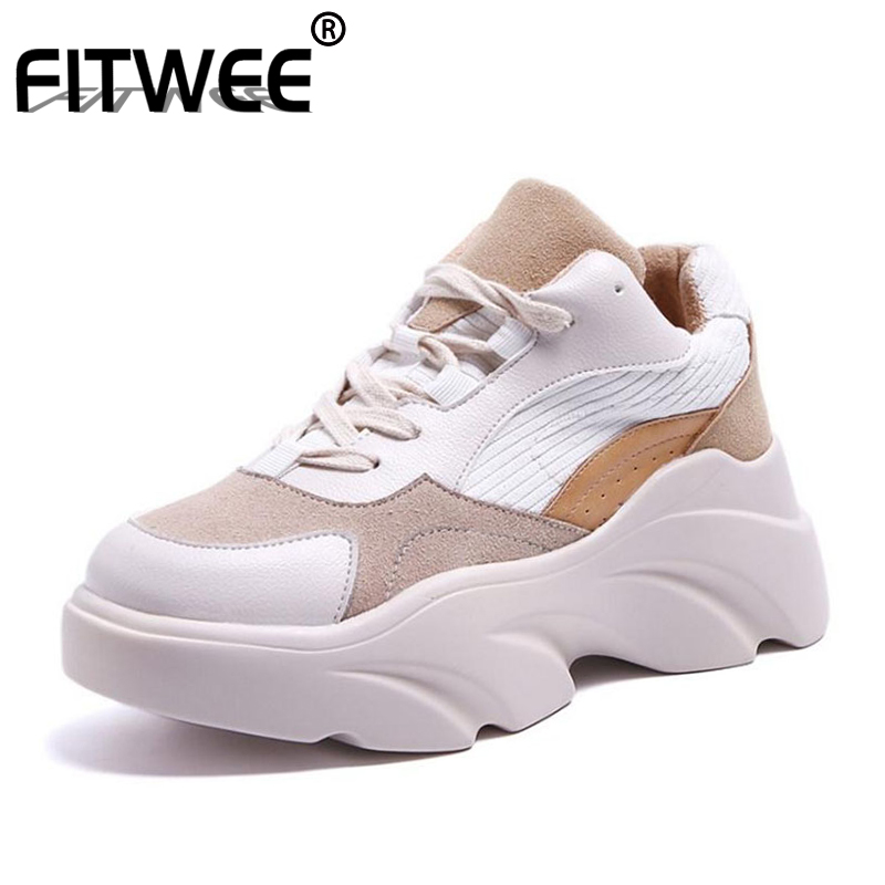 FITWEE 2019 Brand Women Sneakers Fashion Vulcanized Shoes Women's Lace Up Casual Daily Shoes Lady Hiking Vacation Size 35-40