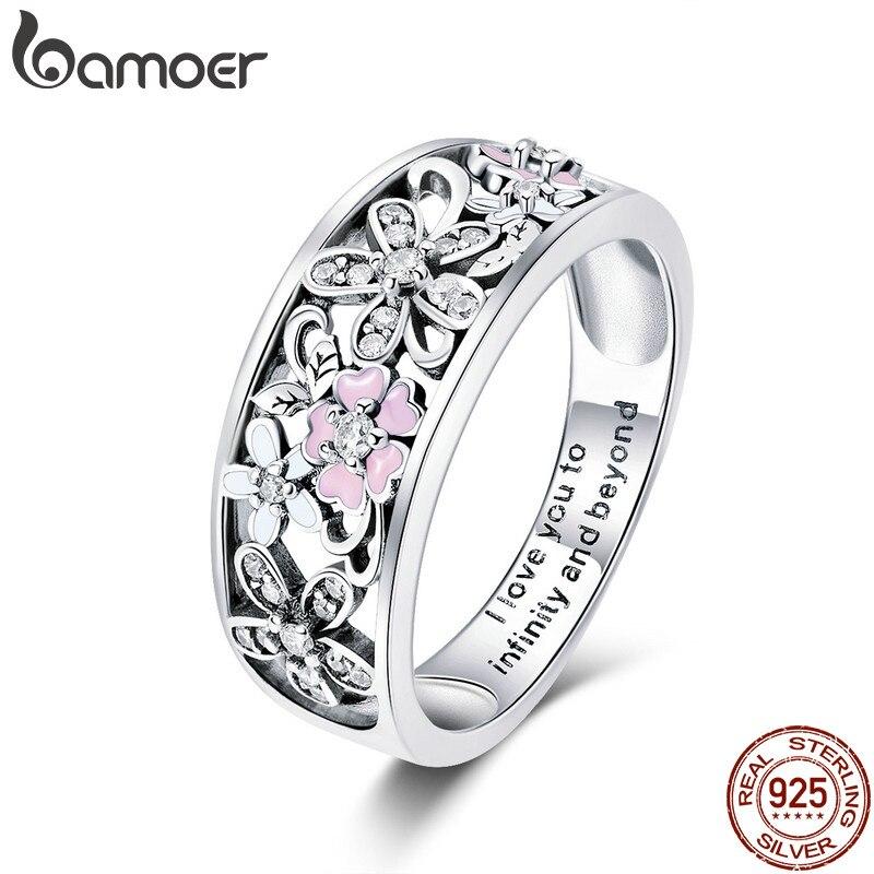 bamoer 925 Sterling Silver Daisy Flower & Infinity Love Pave Finger Rings for Women Wedding