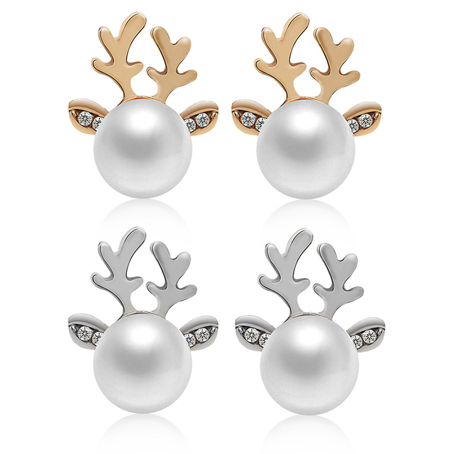Deer Shaped Pearl Stud Earrings
