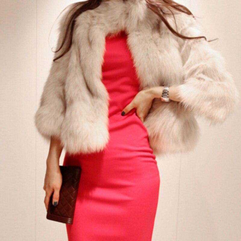Coréenne Renard De Fourrure Beige Manteau La Mode Mince Femme noir Nouvelle Imitation Hiver Court 108nWZX0