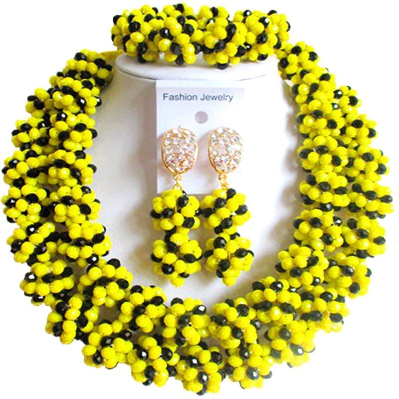 Ethnique Opaque jaune noir femmes et filles ensembles de bijoux en cristal pour la fête et le quotidien 2C-SJHQ-19
