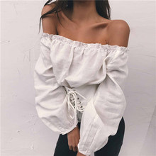 Streetwear Womens Tops and Blouses Lace up Satin Corset Blouse Lantern Sleeve Women Off Shoulder Top Corset Shirt Blusa Mujer(China)