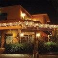 Рождественское уличное украшение 3,5 м, свисающая на 0,4-0,6 м Гирлянда-занавеска в виде сосулек, светодиодная гирлянда 220 В/110 В для нового года, ...