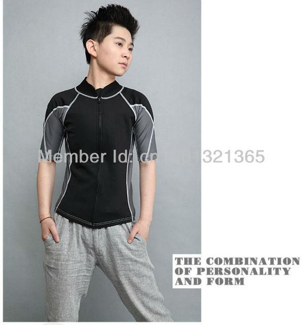 Free Shipping Black Short Sleeve Swimwear With Zipper Flat