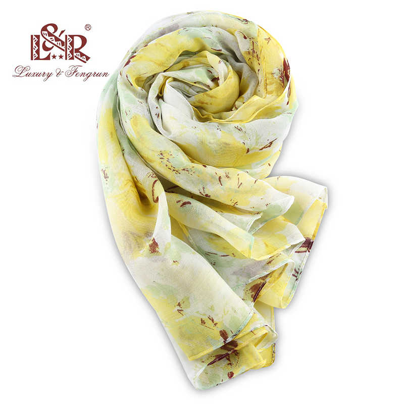 2018 200*100cm Women Chiffon Silk Scarf Fashion Print Bird Polyester Scarves Female Cotton Cachecol Summer Shawl Volie Hijab