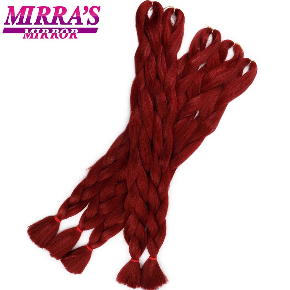 Mirra's Mirror Blue Jumbo Braid Hair Blonde Crochet Braiding Hair Extensions Red Synthetic Hair Braids 82inches 165g/Pack(China)