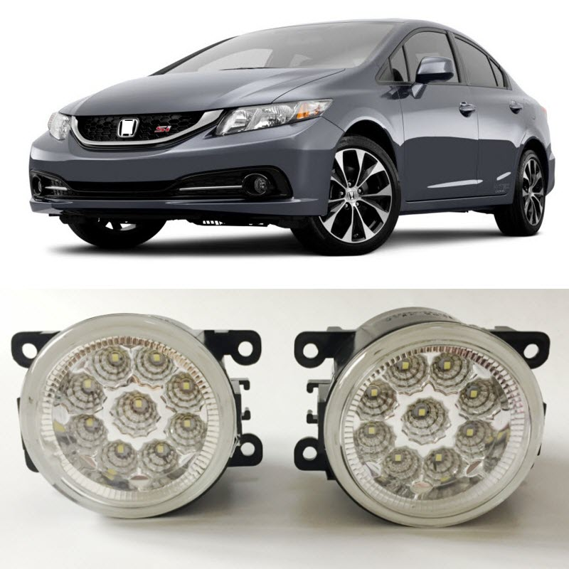Car-Styling For Honda Civic Si 2013 2014 2015 9-Pieces Leds Chips LED Fog Light Lamp H11 H8 12V 55W Halogen Fog Lights серьги коюз топаз серьги т143026170
