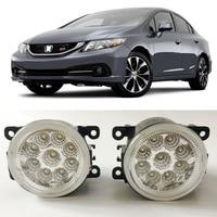 Car Styling For Honda Civic Si 2013 2014 2015 9 Pieces Leds Chips LED Fog Light Lamp H11 H8 12V 55W Halogen Fog Lights
