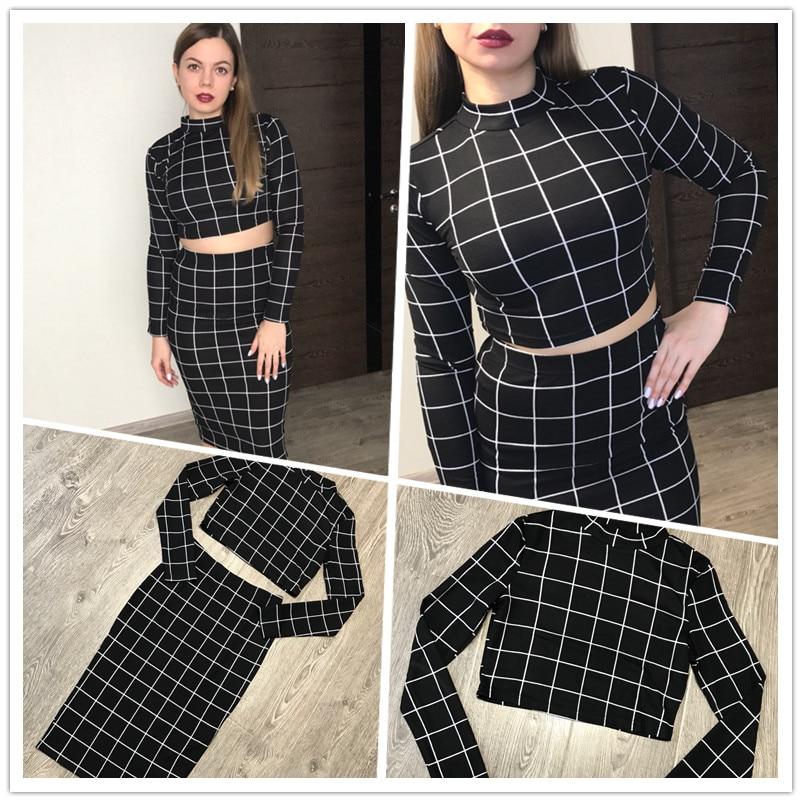 Sheinside Stand Collar Long Sleeve 2 Piece Set Women Crop Grid Top and Pencil Skirt Ladies Elegant Office Ladies Two Piece Set 3