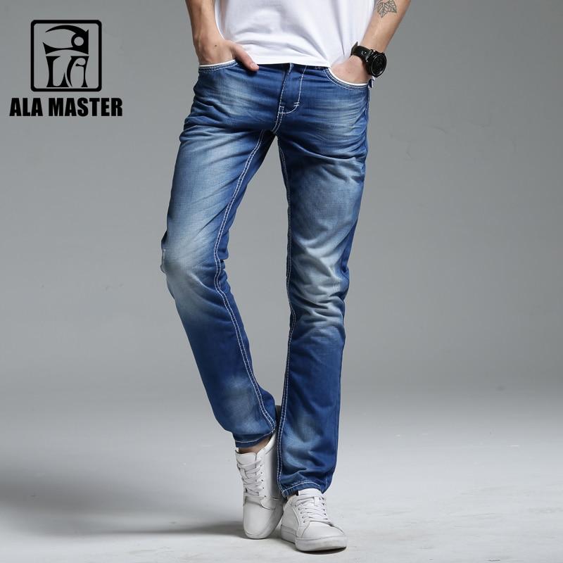 A LA MASTER Slim Denim Jeans Men 100% Cotton Light Wash White Full Length mens jeans Summer Casual Fashion Jeans for Mens