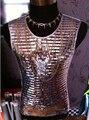 Обычный мужчины в певица DS DJ преувеличение сцена серебро зеркало блёстки цепочки отражающий жилеты костюмы / S-XL