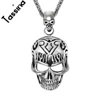 Tassina Gothic Punk Skull Black Silver Tone Necklace Pendant Personalized 316L Stainless Steel Mens Boys Jewelry TNSP490