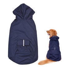 Reflective Rainwear New Large Dog Raincoat Super Waterproof Hooded Rain Jacket Golden Retriever Labrador Reflective Pet Clothes(China)