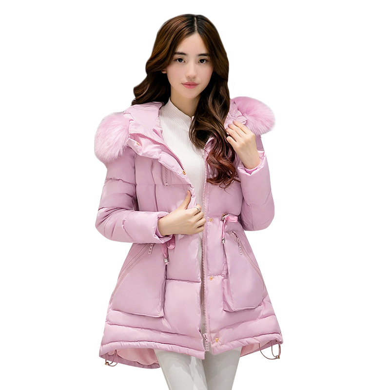 2016 new fashion women jacket female slim thick long real fur collar coat hooded outwear high quality cotton warm parka