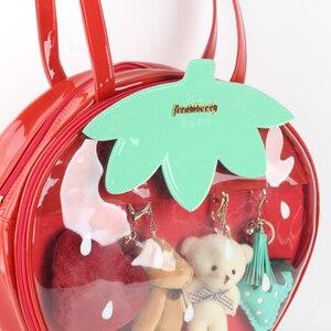 Image 3 - Bolsos de fresa Kawaii transparente Lolita Harajuku para mujer, bolsos de hombro para mujer, hermoso Color caramelo bolso Ita, regalo para chica dulce Itabag