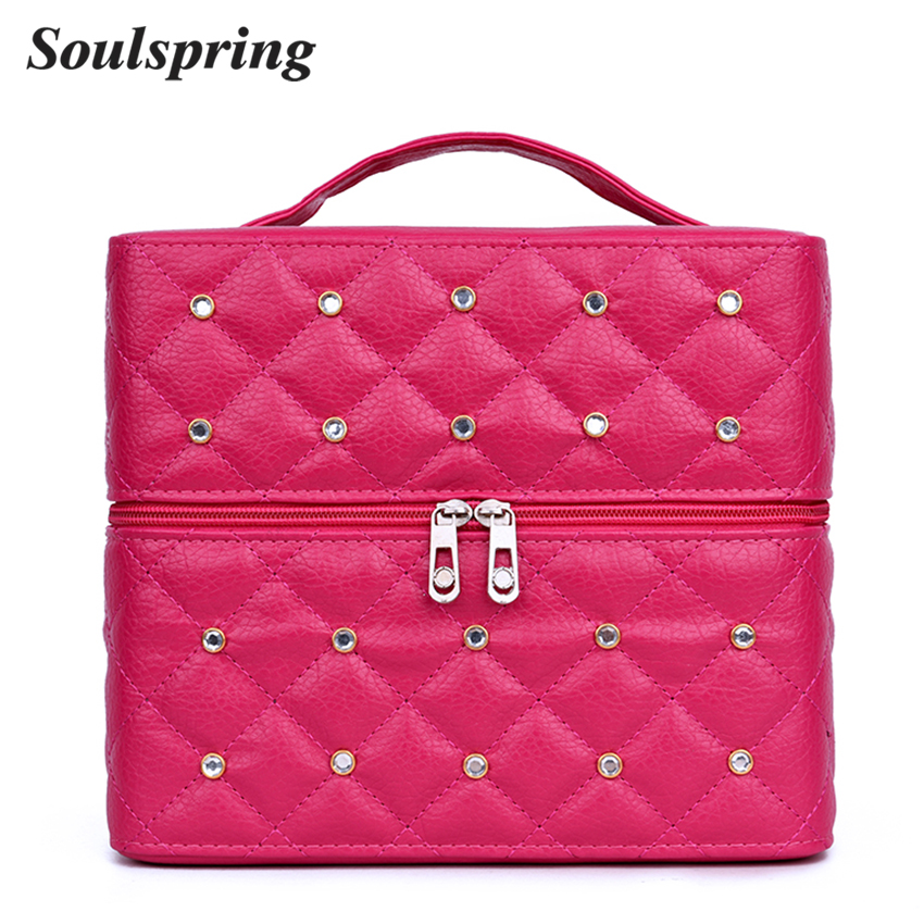 SOULSPRING Professional Multilayer Cosmetic Bag Box Diamond Lattice Women Make Up Bag Organizer Large Capacity Suitcase Cosmetic цена