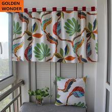 Modern Short Curtain Semi Shade Leaves Bedroom Curtains Window Beautiful Cotton Fabric Home Decor
