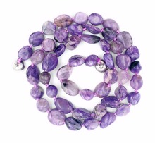 Natural Stone Charoite Freedom Nugget Shape Approx 7-8mm Beads Necklace 18inches/45cm(China)