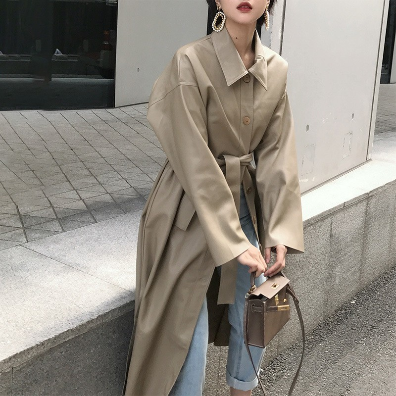 LANMREM 2020 New Spring Fashion Long Type PU Leather Windbreaker Loose Single-breasted Long Coat Black Women's Clothing YG625
