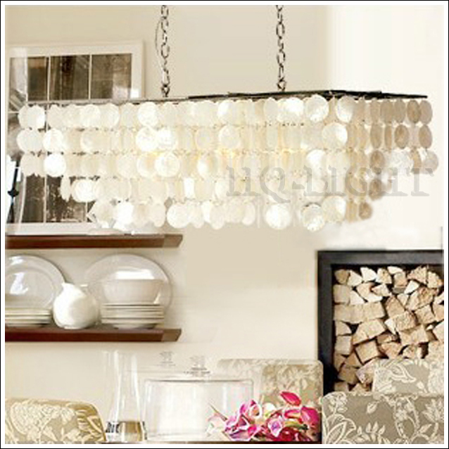 New Length 77cm 30 3 Rectangle Natural Shells Chandelier Suspension Lamp Light Free Shipping