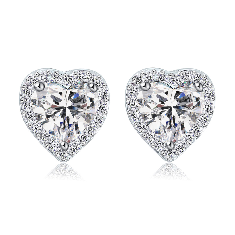 Online Get Cheap Heart Shaped Diamond Earrings Studs Alibaba Group