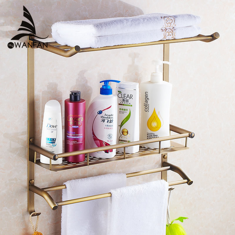 Bathroom Shelves 2 Tier Antique Brass Bath Shelf Towel Bars Hanger Soap Dish Shampoo Storage Basket