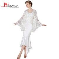 LIYATT 2017 Ivory Ankle Length Sexy Deep V-neck Arabic Vintage Puffy Sleeves 3D Lace Flower High Quality Wedding Bridal Dress