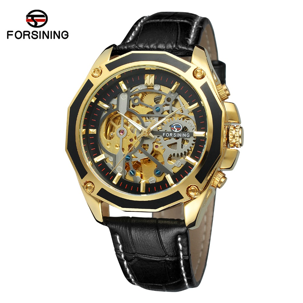 FORSINING Men's Skeleton Mechanical Watch Reloj Hombre Automatic Movtment Male Clock with Genuine Leather Strap Whole Sale